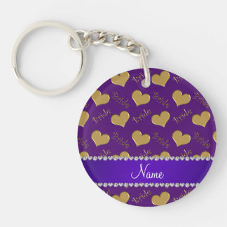 Custom name purple gold bride hearts Double-Sided round acrylic key ring