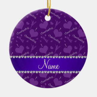 Custom name purple i love cheerleading hearts christmas ornament