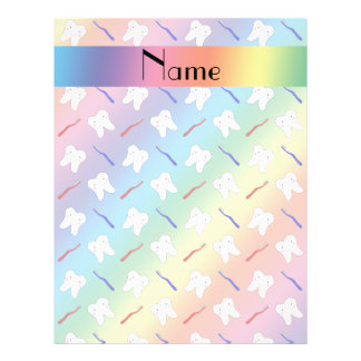 Custom name rainbow brushes and tooth pattern personalized flyer
