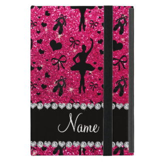 Custom name rose pink glitter ballerinas iPad mini covers