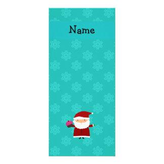 Custom name santa cupcake turquoise snowflakes 10 cm x 23 cm rack card