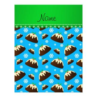 Custom name sky blue christmas pudding pattern 21.5 cm x 28 cm flyer