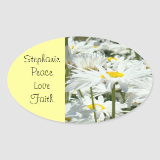 Custom name stickers Peace Love Faith Daisy Flower