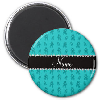 Custom name turquoise ballet shoes refrigerator magnets