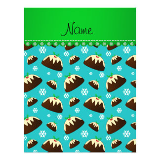 Custom name turquoise christmas pudding pattern 21.5 cm x 28 cm flyer
