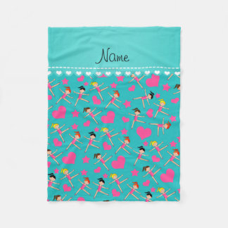 Custom name turquoise girl gymnasts hearts stars fleece blanket