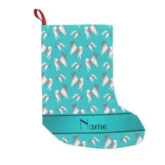 Custom name turquoise Norwegian Elkhound dogs Small Christmas Stocking