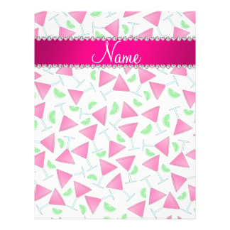 """Custom name white pink cosmos limes 8.5"""" x 11"""" flyer"""