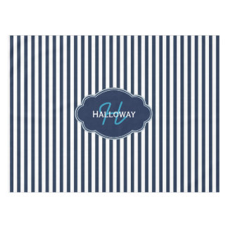 Custom Navy Blue and White Stripe Tablecloth