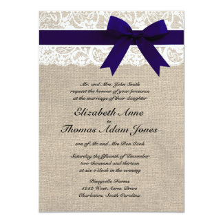 Custom Navy & White Lace & Burlap Wedding Invite