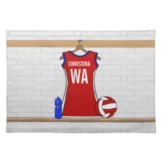 Custom Netball Uniform Red with Blue and White Placemat