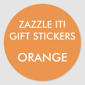 Custom ORANGE ROUND LARGE Gift Stickers Template