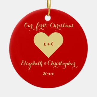 Custom Our First Christmas Mr Mrs Wedding Heart Christmas Ornament