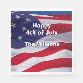 Custom Patriotic US Flag Disposable Napkins