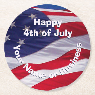 Custom Patriotic US Flag Round Paper Coaster