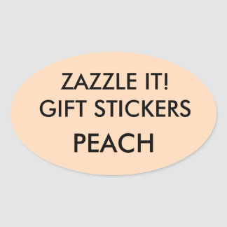 Custom PEACH OVAL Card & Gift Stickers