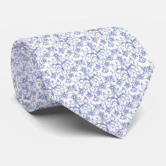 Custom Periwinkle Blue on White Decorative Floral Tie