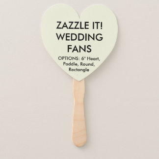 Custom Personalised BEIGE HEART WEDDING FANS