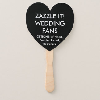 Custom Personalised BLACK HEART WEDDING FANS