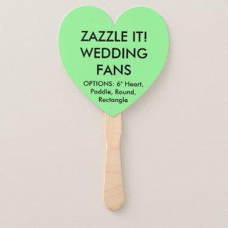 Custom Personalised MINT GREEN HEART WEDDING FANS