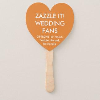 Custom Personalised ORANGE HEART WEDDING FANS