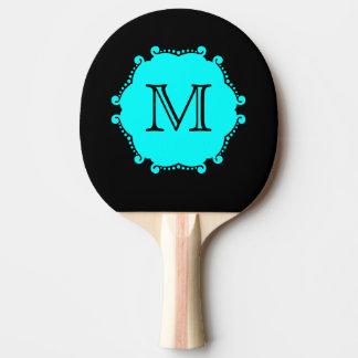 Custom personalized monogram black and aqua ping pong paddle