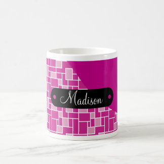Custom Personalized Name Magenta Purple Tile Coffee Mug