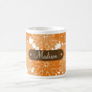 Custom Personalized Name Orange Flower Blossoms Basic White Mug