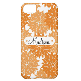 Custom Personalized Name Orange Flower Blossoms iPhone 5C Cover