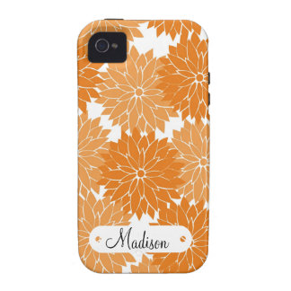 Custom Personalized Name Orange Flower Blossoms Vibe iPhone 4 Cases