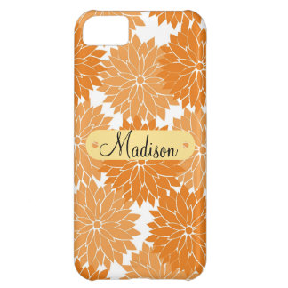 Custom Personalized Name Orange Flower Blossoms Case For iPhone 5C