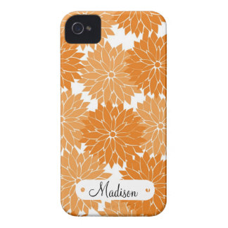 Custom Personalized Name Orange Flower Blossoms Case-Mate iPhone 4 Cases