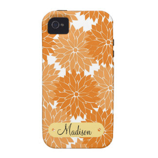 Custom Personalized Name Orange Flower Blossoms iPhone 4 Covers
