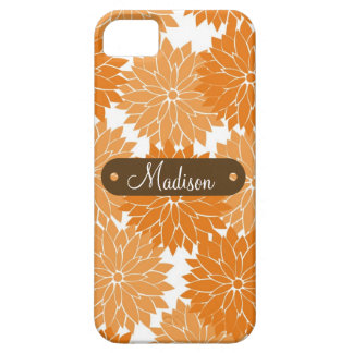 Custom Personalized Name Orange Flower Blossoms iPhone 5 Case