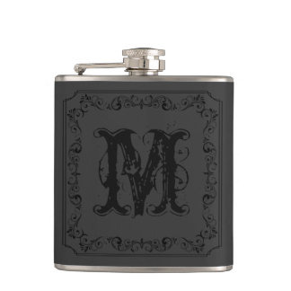 Custom Personalized Victorian Initial Monogram Flasks