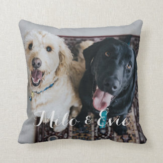 Custom Pet Photo Modern Calligraphy Pillow