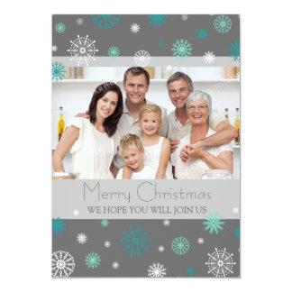 Custom Photo Christmas Dinner Invitation Grey