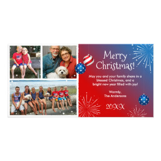 Custom Photo Patriotic Christmas Cards Photo Greeting Card