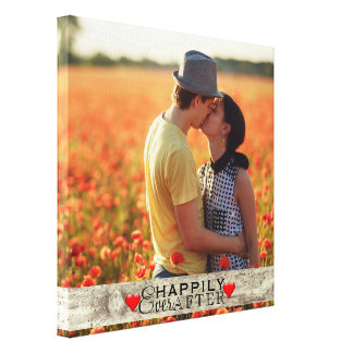 Custom Photo Rustic Wedding Happily Ever After Canvas Print
