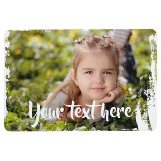 Custom Photo Text Pink White Paint Streaks Borders Floor Mat