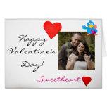 Custom Photo & Valentine's Day Love Bird (blue) Greeting Card