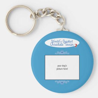 Custom Photo! Worlds Greatest Airedale Terrier Basic Round Button Key Ring