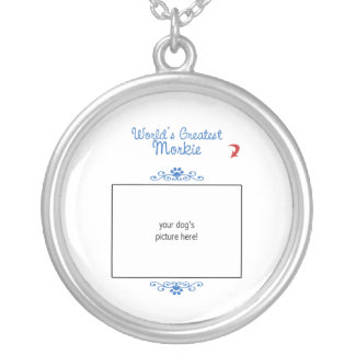 Custom Photo! Worlds Greatest Morkie Silver Plated Necklace