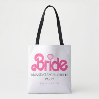 Custom pink bride tote bag