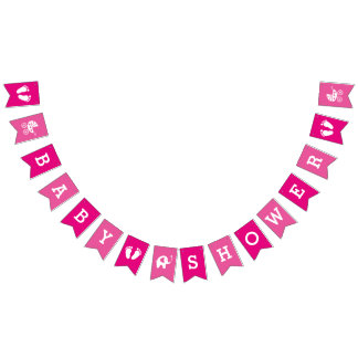Custom Pink Girls Baby Shower Bunting Banner Flags