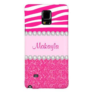 Custom Pink Glitter Zebra Galaxy Note 4 Case