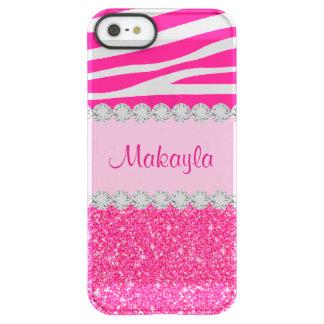 Custom Pink Glitter Zebra Permafrost iPhone 5 Case