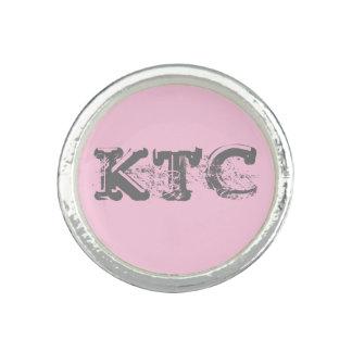 Custom Pink, Gray Grunge Monogram Round Ring