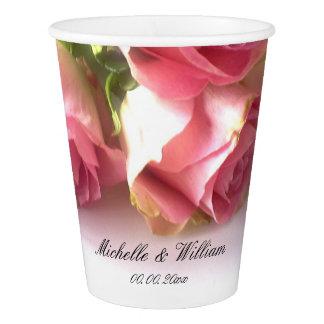 Custom pink rose flower garden wedding party cups
