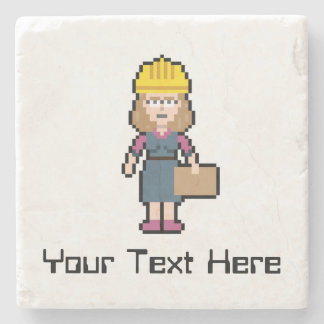 Custom Pixel Female Engineer Stone Beverage Coaster